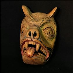 """HAND CARVED AND PAINTED WILD BEAR MASK, ARTIST UNKNOWN, NORTHWEST COAST, APPROX. 10.5"""" TALL"""