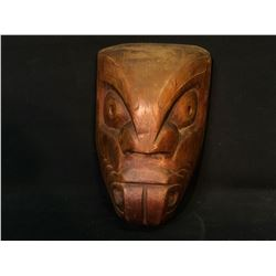 """HAND CARVED DARK WOOD BEAVER TRANSFORMATION MASK, ARTIST UNKNOWN, APPROX. 13"""" TALL"""