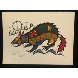 """SAUL WILLIAMS, LIMITED EDITION PRINT, """"WOLVERINE HUNTING AT NITE"""", 13/60, 30"""" X 22"""", UNFRAMED"""