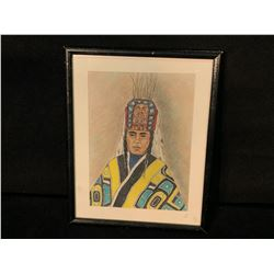 ORIGINAL MARY CAMERON DRAWING OF NORTHWEST CHIEF IN CEREMONIAL REGALIA, CHILKAT ROBE & FRONTAL