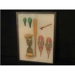 """MINIATURE MODEL COLLECTION OF NATIVE SNOW SHOES, PADDLE, CANE, SPOONS AND MITTS, 16"""" X 12"""" INC."""