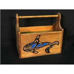 """HAND CARVED AND PAINTED NORTHWEST COAST CARVERS TOOL BOX, 17"""" LONG X 15.5"""" TALL"""