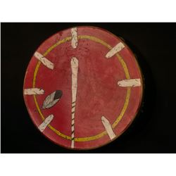 """HAND MADE FIRST NATIONS ANIMAL HIDE DRUM, WITH FEATHER DESIGN, 17"""" DIAMETER"""
