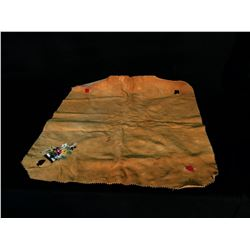 """NATIVE BEADED & SMOKED HIDE GAMBLING TABLE COVER, NORTHERN BC, 30.5"""" SQUARE"""