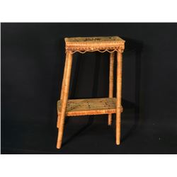 """SALISH HAND WOVEN SIDE TABLE WITH BLACK AND RED PATTERNS, 29.5"""" TALL"""