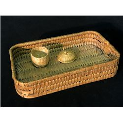 """NOOTKA NATIVE HAND WOVEN BASKET, C. EARLY 1900S, APPROX. 11"""" WIDE, AND SMALL HAND WOVEN LIDDED"""