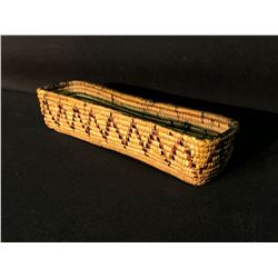 """FRASER RIVER NATIVE HAND WOVEN QUILL TRAY BASKET, ZIG ZAG DESIGN, 10.5"""" LONG"""