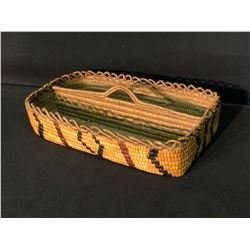 """FRASER RIVER NATIVE HAND WOVEN POTLATCH SPOON HOLDER, FULLY IMBRICATED, 13"""" LONG"""