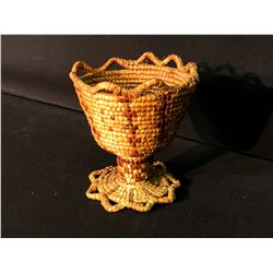 """FRASER VALLEY NATIVE HAND WOVEN FULLY IMBRICATED CHALICE BASKET, 5.5"""" TALL"""