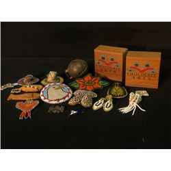 COLLECTION OF ASSORTED NATIVE ART, 16 PIECES TOTAL, INC. VARIOUS LEATHER/BEAD ORNAMENTS, BROACHES,