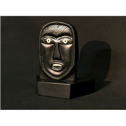 """HAND CARVED SOAP STONE STATUE, """"INUIT FACE"""", SIGNED BY ARTIST ON BOTTOM, 8.5"""" TALL"""