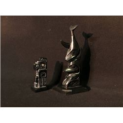 2 HAIDA ARGILITE CARVINGS: RUFUS MOODY SIGNED TOTEM FROM SKIDEGATE, BC., NOV. 1965, SIGNED BY