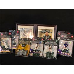COLLECTION OF BRETT FAVRE MEMORABILIA INC. 7 ACTION FIGURES IN ORIGINAL PACKAGING AND 2 FRAMED,