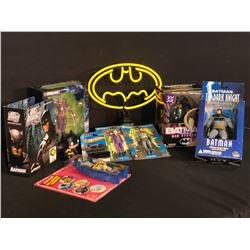 COLLECTION OF BATMAN MEMORABILIA INC. VARIOUS FIGURINES AND ACTION FIGURES IN ORIGINAL PACKAGING,