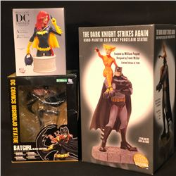 3 STATUES INC. DARK KNIGHT STRIKES AGAIN PORCELAIN STATUE, BATGIRL BY KOTOBUKIYA STATUE, AND DC