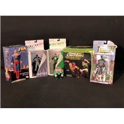 COLLECTION OF DC JUSTICE LEAGUE FIGURINES INC. GREEN LANTERN, BATMAN, SUPERMAN AND MORE, ALL IN