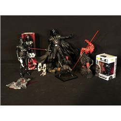 STAR WARS ASSORTED COLLECTABLES INC. DARTH VADER, DARTH MAUL, IMPERIAL DEATH TROOPERS AND MORE,
