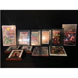 ASSORTMENT OF COMIC COLLECTABLES INC. 4 FRAMED COMICS: WEB OF SPIDER-MAN #4, THE AMAZING SPIDERMAN