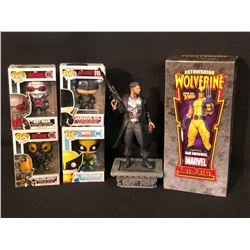ASSORTED MARVEL FIGURINES INC. WOLVERINE, DAREDEVIL, YELLOW JACKET, AND ANT-MAN POP! FIGURINES IN