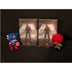 4 CAPTAIN AMERICA COLLECTABLES INC. 2 WINTER SOLDIER FIGURINES IN ORIGINAL PACKAGING, AND 2 POP!