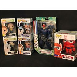 ASSORTED COLLECTABLES INC. RICK & MORTY, BAYMAX, AND BACK TO THE FUTURE POP! FIGURINES, AND G.I.