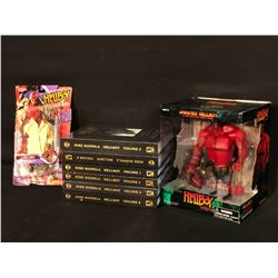 COLLECTION OF HELLBOY ITEMS INC. HELLBOY VOLUMES 1-6 HARDCOVER BOOKS IN ORIGINAL PLASTIC WRAP, AND