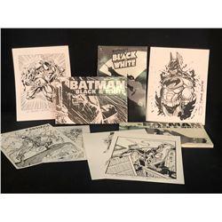 BATMAN BLACK & WHITE VOLUMES 1-3 BOOKS, AND ASSORTMENT OF ARTIST SIGNED PRINTS