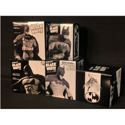 5 LIMITED EDITION DC DIRECT BATMAN BLACK & WHITE FIGURINES IN ORIGINAL PACKAGING