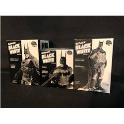 3 LIMITED EDITION DC DIRECT BATMAN BLACK & WHITE FIGURINES IN ORIGINAL PACKAGING