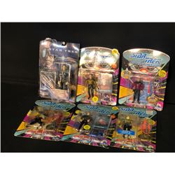 STAR TREK FIGURINES INC. 5 THE NEXT GENERATION FIGURINES AND 1 FIRST CONTACT FIGURINE, ALL IN