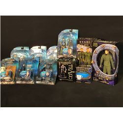 COLLECTION OF 11 STARGATE FIGURINES INC. ATLANTIS, SG-1 AND OTHERS, ALL IN ORIGINAL PACKAGING