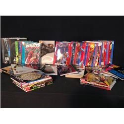 COLLECTION OF ASSORTED MARVEL GRAPHIC NOVELS, BOOKS AND MORE INC. SPIDERMAN, DAREDEVIL, THANOS,
