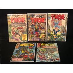 5 MARVEL COMICS: THE AVENGERS #27, THE MIGHTY THOR #110, #123 & #138, THE MIGHTY AVENGERS #69