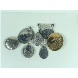 COLLECTION OF FIRST NATION DESIGN PENDANTS