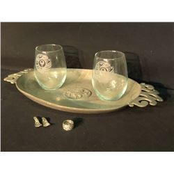 COLLECTION OF FIRST NATION ITEMS INC. 2 GLASSES, RING, 2 SMALL DECORATIVE SPOONS AND METAL PLATTER