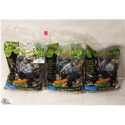 3 BAGS OF EXOTERRA TURTLE PEBBLES, 10LBS EACH.
