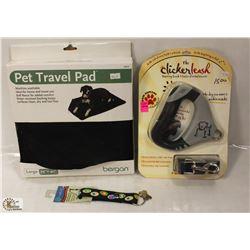 LARGE BERGAN PET TRAVEL PAD & THE CLICKER LEASH W/