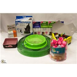 BOX OF ASSORTED CAT ITEMS INCL REPLACEMENT GRASS
