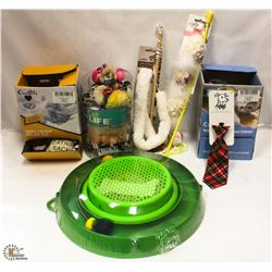 BOX OF CAT TOYS INCL WANDS, CATNIP TOY GAME,