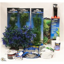 LOT OF ASSORTED FISH ITEMS INCL PLASTIC PLANTS,
