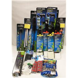 BOX OF ASSORTED AQUARIUM CLEANING DEVICES INCL