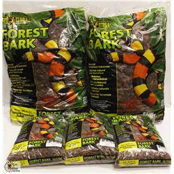 5 BAGS OF EXOTERRA FOREST BARK NATURAL TERRARIUM