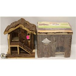 LOT OF 2 SMALL ANIMAL WOODEN HOMES.