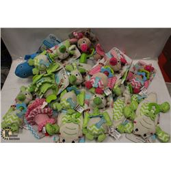 BOX OF ASSORTED DOG TOYS.