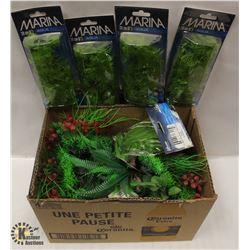 BOX OF ASSORTED AQUARIUM PLASTIC PLANTS,