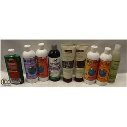BOX OF ASSORTED PET SHAMPOO AND CONDITIONER.
