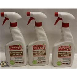3 BOTTLES OF NATURES MIRACLE HARD FLOOR CLEANER.