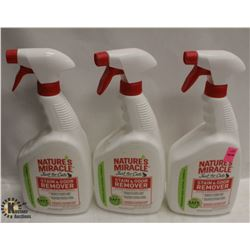 3 BOTTLES OF NATURES MIRACLE STAIN AND ODOR