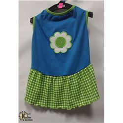 BLUE/GREEN PET DRESS WITH FLOWER SIZE MEDIUM.