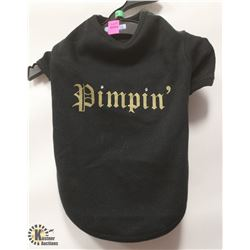 """PIMPIN"" BLACK PET SHIRT SIZE MEDIUM."